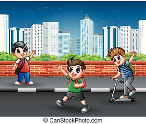 Children on the sidewalk with urban scene