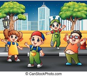 Children on the sidewalk with urban scene