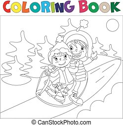 Children on the sled coloring book
