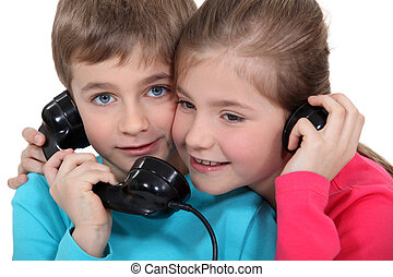 Children on the telephone