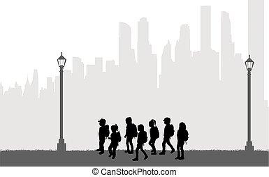 Children on their way to school.