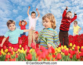 children on tulips field collage