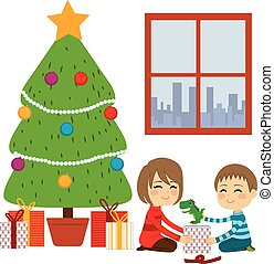 Children Opening Christmas Gifts - Two cute happy siblings ...