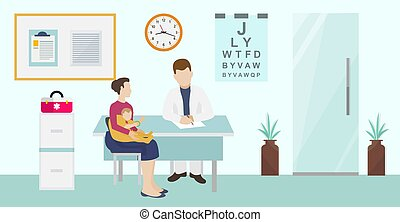 Children ophthalmology and healthcare vector illustration. Baby with mother visiting doctor oculist sitting in office for consultation and eyes and vision test.