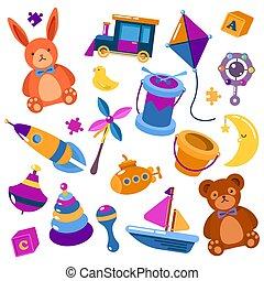 Children or kids isolated toys. Teddy bear
