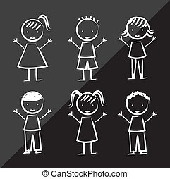 children over black background, drawing. vector