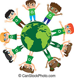 children over planet isolated over white background,...