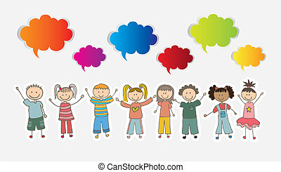 Children over white background with colors cloud vector ...
