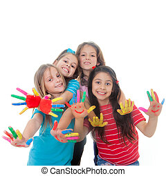 children paint fun - group of happy children having fun with...