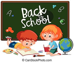 Children painting and chalkboard illustration