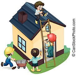 Children painting and fixing the house