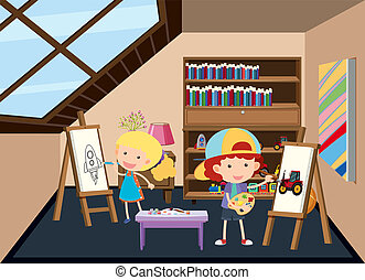Children painting at the attic illustration