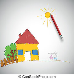 Children painting. Children's drawing a pencil, vector...