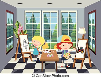 Children painting in the room illustration