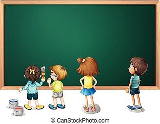 Children painting on the blackboard