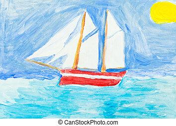 children painting - sailing vessel in blue ocean under yellow sun