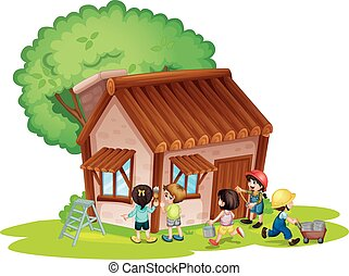 Children painting the house