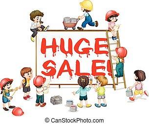 Children painting word huge sale on board