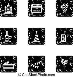 Children party icons set, grunge style