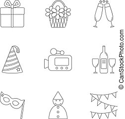 Children party icons set, outline style