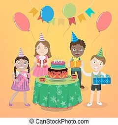 Children Party with Happy Boys and Girls, Cake and Balloons. Vector illustration
