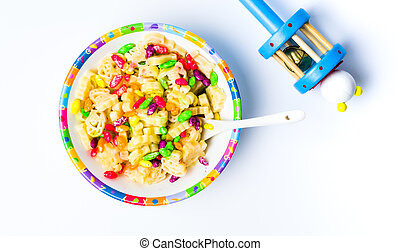 Children pasta and a toy tabletop