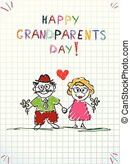 Children pencil hand drawn greeting card with grandpa and grandma together