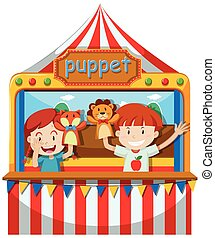 Children perform puppet show on stage