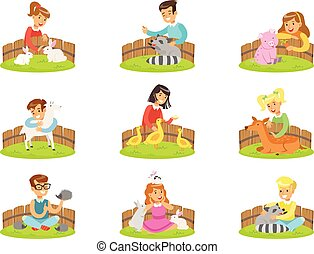 Children Petting The Small Animals In Petting Zoo Set Of...