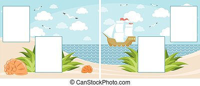 Children photobook page - Vector illustration of a children...