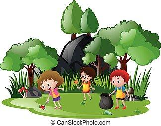 Children picking up trash in garden illustration