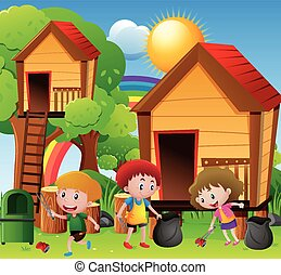 Children picking up trash in playground illustration