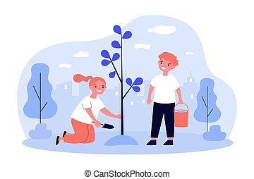 Children planting tree in spring