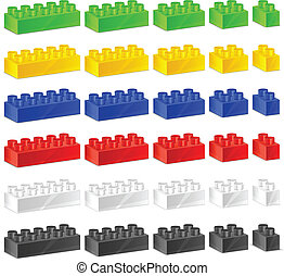 Children plastic constructor, color toy blocks on white, ...