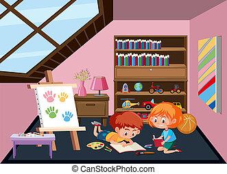Children plating toy at attic room illustration