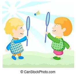 children play badminton