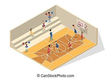 Children play basketball in the school gym