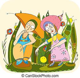 children play grass - Two children have found a freakish...