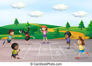 Children play hop scotch illustration