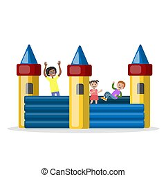 Children play in the bouncy castle in park - Children play...