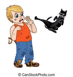 Children play outdoors, hoodlum cheerful little boy frightened the black cat. Funny cartoon character. Vector illustration