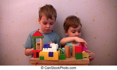 children play toy brick