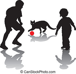 Children play with a cat
