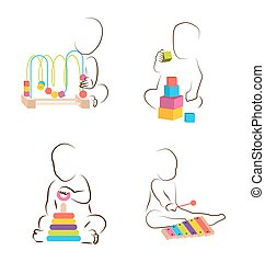 Children play with educational toys. baby development icons