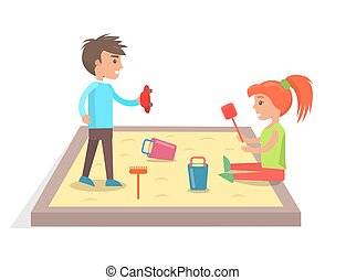 Children Play with Toys in Sandbox Illustration - Boy and...