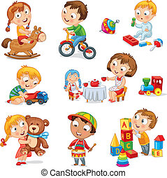 Children play with toys. Little girl riding a wooden horse, hugging a teddy bear, plays with a doll, boy sitting on a tricycle, playing with a toy car, bangs the drum, builds a house from cubes. Set