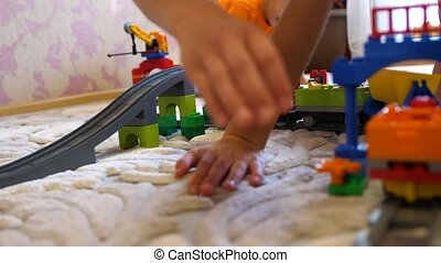 Children play with toys.Children in the game room playing...