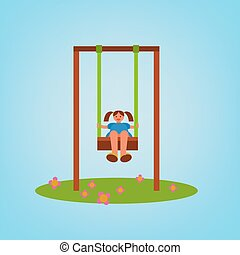 Children Playground 01 A - Beautiful children swing with a...