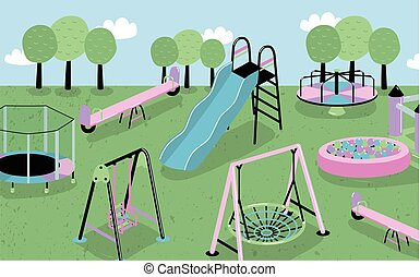 Children playground. Different children s outdoor equipment trampoline, bouncy castle, hill, carousel, sandbox, slide, balance. Colorful vector illustration collection.