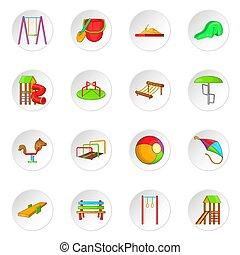 Children playground icons set, cartoon style